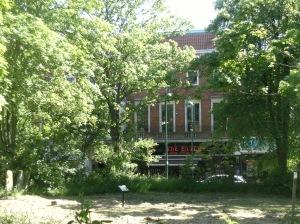 Leytonstone library seen from St John's churchyard