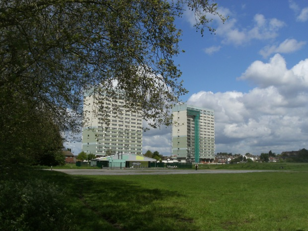 Fred Wigg and John Walsh Towers from Wanstead Flats