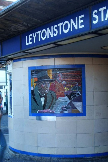 One of the Leytonstone tube Hitchcock mosaics