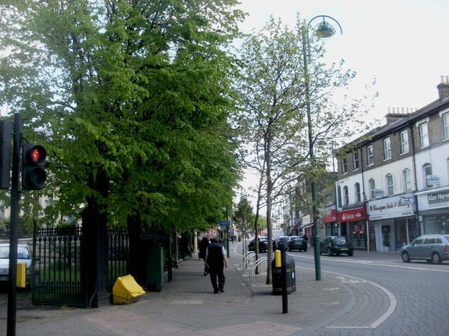 Leytonstone High Road looking north from Church Lane towards Matalan