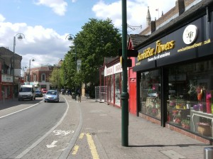 Leytonstone High Road looking south towards the library