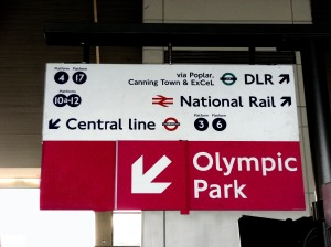 Olympic Park sign, Stratford station