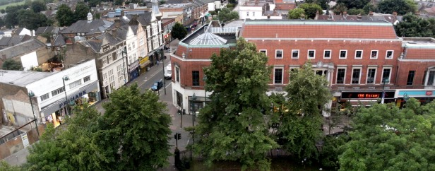 Leytonstone library from St John's Church