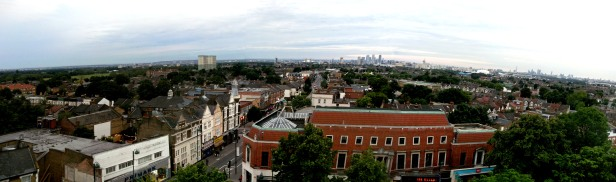 Leytonstone Wanstead Flats and Canary Wharf from St John's Tower