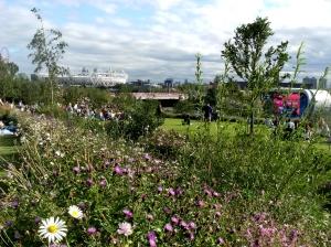 Parkland near the Velodrome looking towards the Olympic Stadium